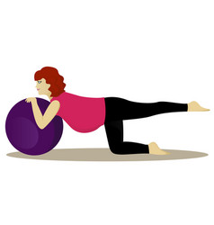 Pregnant woman on fitness ball vector