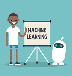 Machine learning conceptual young black vector