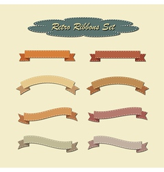 Collection of ribbons in retro vintage style vector