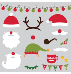 Christmas photo booth and scrapbooking set vector