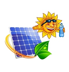 Solar panel with cartoon sun eco concept vector