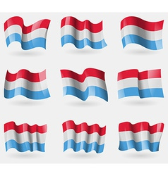 Set of luxembourg flags in the air vector