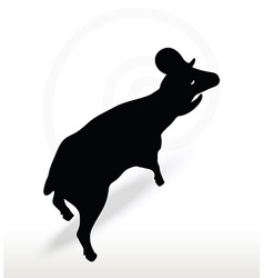 Big horn sheep silhouette in face upward pose vector