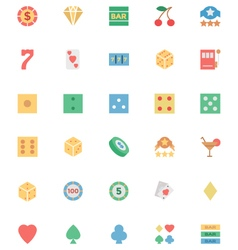 Flat Casino Colored Icons 1 vector image
