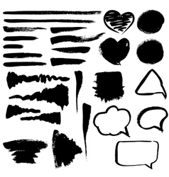 Brush strokes hearts and bubbles vector image