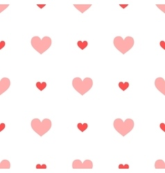 Big ang small pink hearts on white seamless vector image