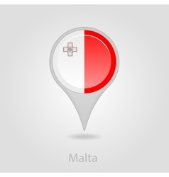 Malta flag pin map icon vector