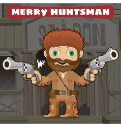 Cartoon character of wild west - merry huntsman vector
