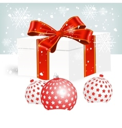 White christmas gift box on snow vector