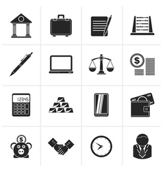 Black business and office icons vector