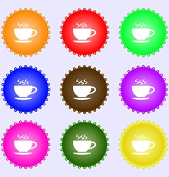 The tea and cup icon sign a set of nine different vector