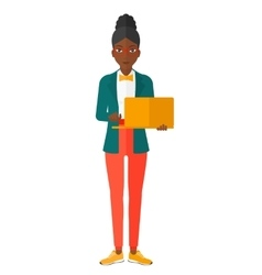 Woman using laptop vector