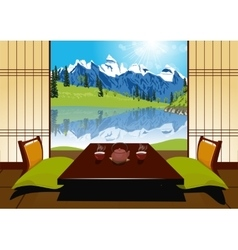 Tea ceremony with clay teapot and two cups vector