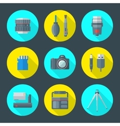 Various photography goods icons vector