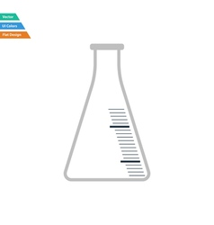 Flat design icon of chemistry cone flask vector