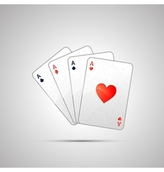 Winning poker hand of four aces vector