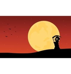 Silhouette of warlock and full moon backgrounds vector image
