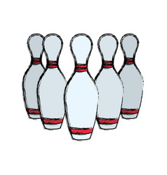 Bowling pins sport game vector