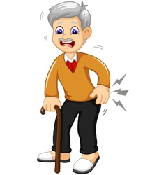 cartoon old grandfather was lumbago vector image vector image