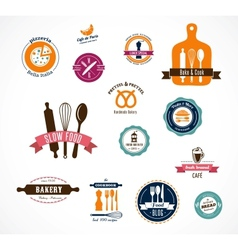 Collection of vintage bakery and cafe labels vector