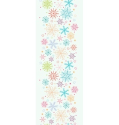 Colorful Doodle Snowflakes Vertical Seamless vector image vector image