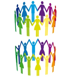 colorful people in circle vector image vector image