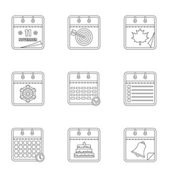 Diary icons set outline style vector