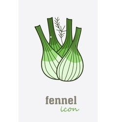 fennel icon Vegetable green leaves vector image