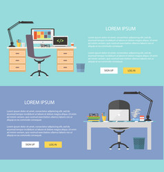 flat design workplace concepts web vector image vector image