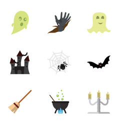 flat icon festival set of zombie phantom magic vector image