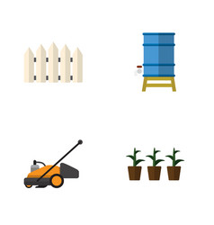 Flat icon garden set of flowerpot wooden barrier vector