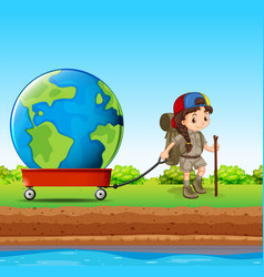 Girl pulling globe in red wagon vector