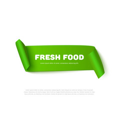 Green curved paper ribbon banner with rolls vector