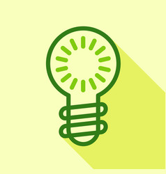 green electric bulb icon flat style vector image vector image