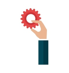 Hand with gear setting isolated icon vector
