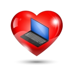 heart icon with a laptop vector image vector image