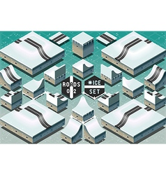 Isometric Roads on Two Levels Frozen Terrain vector image vector image
