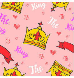 King crown pattern style collection vector