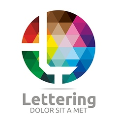 lettering l rainbow alphabet icon vector image