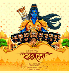 Lord rama with bow arrow killing ravan vector
