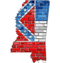 Mississippi map on a brick wall vector