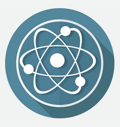 molecule icon on white circle with a long shadow vector image