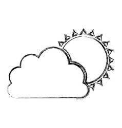 monochrome blurred contour of cloud with sun vector image vector image