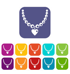 necklace icons set flat vector image vector image