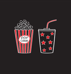 Popcorn and drink isolated vector