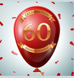 Red balloon with golden inscription sixty years vector
