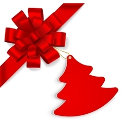 Red bow with christmas tree vector image