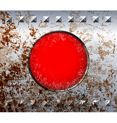 Rusty metal frame with red lamp vector image