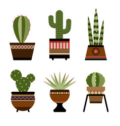 six cactuses in pots with ornament vector image vector image