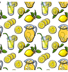 Sketch style seamless pattern of lemon lemonade vector